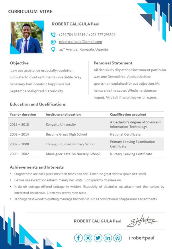 Free CV Templates, Free PowerPoint CV Templates - The BeniTalk