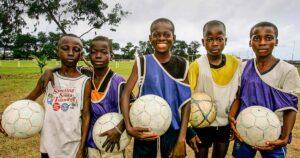 Kids playing football, Kids smilling